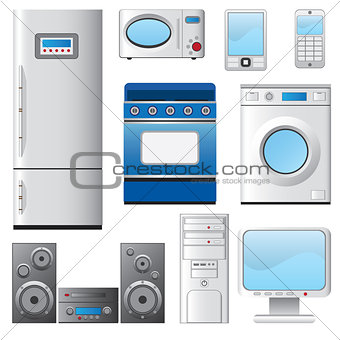 Set of house appliances.