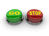 Go stop buttons. Concept 3D illustration.