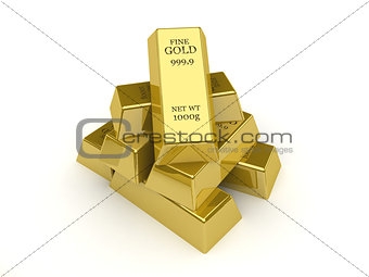 Gold bars. Concept 3D illustration.