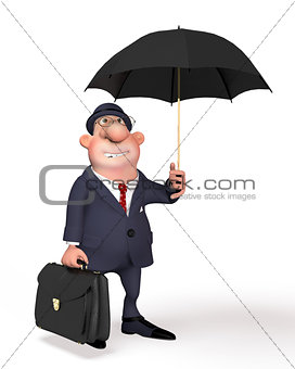 The businessman on the street under an umbrella.