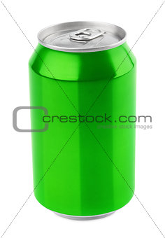 Green aluminum can on white