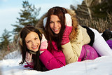 Girls in snowdrift