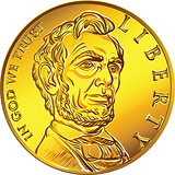 Vector American money gold coin one dollar