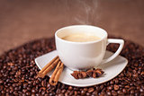 Cup of latte or cappuccino with cinnamon and anise