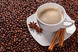 Coffee cup with cinnamon