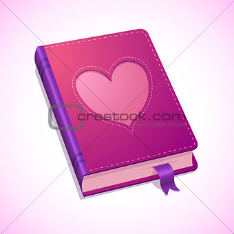 Vector diary with heart for Valentines Day