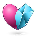 Vector illustration of pink and blue heart 