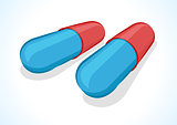 Vector illustration of two pills