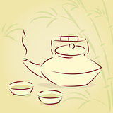 Vector teapot with bamboo background 