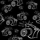 Black and white contour photo camera seamless