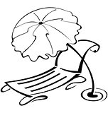 Black and white contour umbrella and beach chair