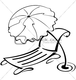 Black and white contour umbrella and beach chair