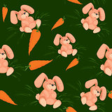 Rabbit with carrot seamless pattern green