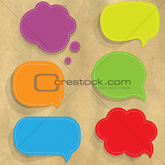 Cardboard Structure With Color Paper Speech Bubbles