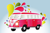 Colorful retro van with splashes
