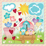 Owls in spring rain layout