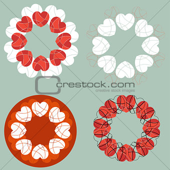 A set of circular love heart design elements