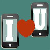 Valentine text message concept