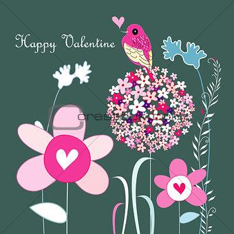 Flowers and love bird