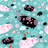 Texture of pink and black pigs
