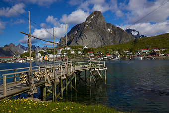 Wooden pier in fjord