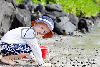 little boy at the beach