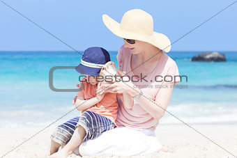 mother and her son at a beach