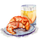 Croissant and glass of fruit juice