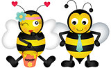 Adorable honey bees in love