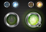 Power glossy buttons with the same illumination. Vector background