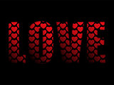 Valentines Day Love Word with Hearts