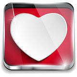 Valentine Day Glossy Application Button Heart