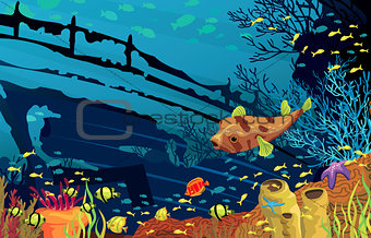 Coral reef with colored fish