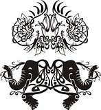 Stylized symmetric vignettes with elephants