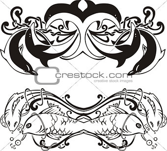 Stylized symmetric vignettes with dolphins and fish