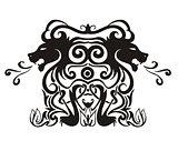 Stylized symmetric vignette with lions