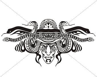 Stylized symmetric vignette with snakes