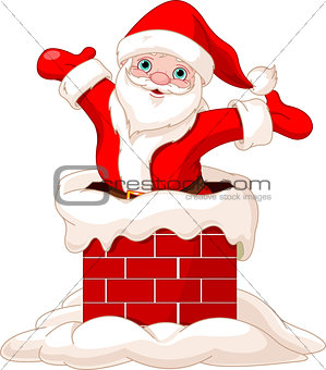 Santa Claus jumping from chimney