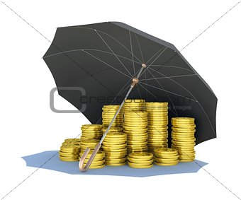 Black umbrella covers gold coins