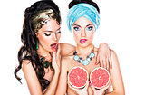 Emotional Glossy Women with Grapefruit - Creativity and Glamour