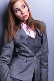 Elegance. Stylish Trendy Woman in Blue - Grey Costume posing