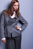 Graceful Stylish Woman in Grey Costume - Vogue Style
