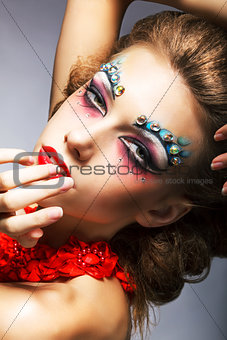 Creativity. Shiny Woman Actress with Bright Make Up. Glamor