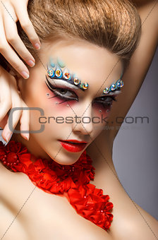Perfect Fashion Woman Face with Strass - Bright Eye Makeup. Theater