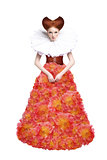 Red Hair Duchess. Retro Fashion Woman in Classic Jabot. Renaissance. Fantasy