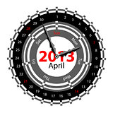 Creative idea of design of a Clock with circular calendar for 20