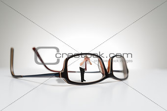 Conceptual photograph of life size glasses