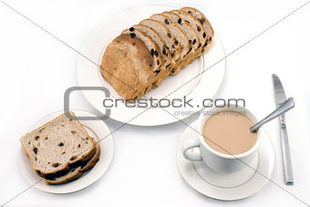 Raisin bread and coffee