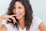 Beautiful Happy Woman Smiling Biting Finger
