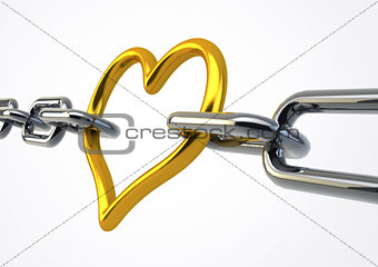 Valentine Heart Shaped Metal between chains holding links togeth